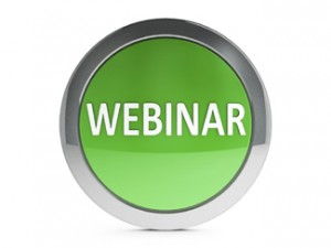 Green webinar emblem is online seminar, three-dimensional rendering
